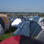 The view on the first morning of our first Glastonbury...