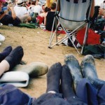 A welcome break from the wellies during the script.