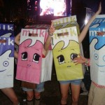 Me and my friends dressed as the dancing milk carton from Blur's 'Coffee & TV' video during their performance on the pyramid stage 2009!
