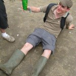 Despite the mud camouflage, Joey's presence was given away by the fluorescent green cup