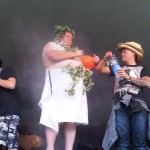 My husband helping to talc up a half naked compère, brilliant