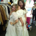 Chillin in wedding dresses bought in oxfam!