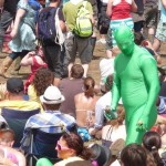 Green bloke in The Park crowd on sunny Saturday.
