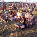 Happy campers at the Pyramid stage