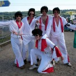 The Elvis Gang at the top of the Pyramid Stage field.