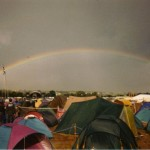 looking towards the other stage, this crazy rainbow had everyone out looking to the sky. it was quite special.