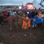 Clear view for The Who thanks to a group of mud wrestlers the crowds were trying to avoid.