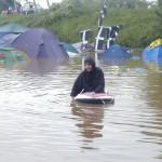 Fun on the boating lake at Glastonbury.