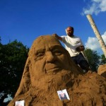 Michael Eavis made out of sand.