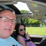me and chelle arriving in the caravan field, whew the weather is great ,i love glasto.