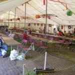 Food, beer and chill out tent for recycling volunteers living in Toms Field.