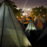 The tipi area at night - like another world.