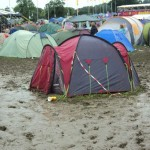A stranded tent, next to the John Peel stage.