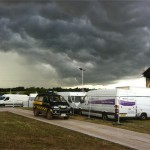 Storm coming in. Back stage at The Gully