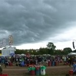 Sun Ra Arkestra on West Holts with the storm that paused Glastonbury looming above. (3)