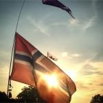 Sunset Through A Flag