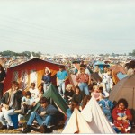 The crowd at the Pyramid Stage - camping at close quarters!