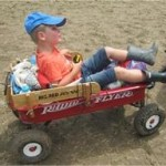 Cruising in his wagon