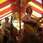 Nizlopi come off stage for an acoustic track at Croissant Neuf