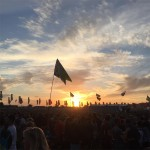 The sun sets on Glastonbury for another year - Sunday night at the other stage.