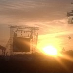 The sun goes down behind the worlds most famous stage.