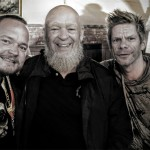 Michael Eavis and his two new Norwegian friends