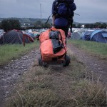 The HandiMoova transporting our Glasto essentials through the mud!