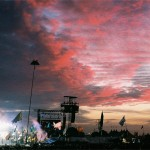The sun sets as The Who close the Pyramid Stage. 35mm film.