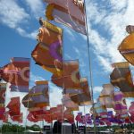 Festival flags blowing in the wind
