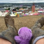 """view of wellies and """"the park"""" area with #glastobear"""