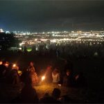 These people really get Glastonbury - chillin on the hill above the tipis at night