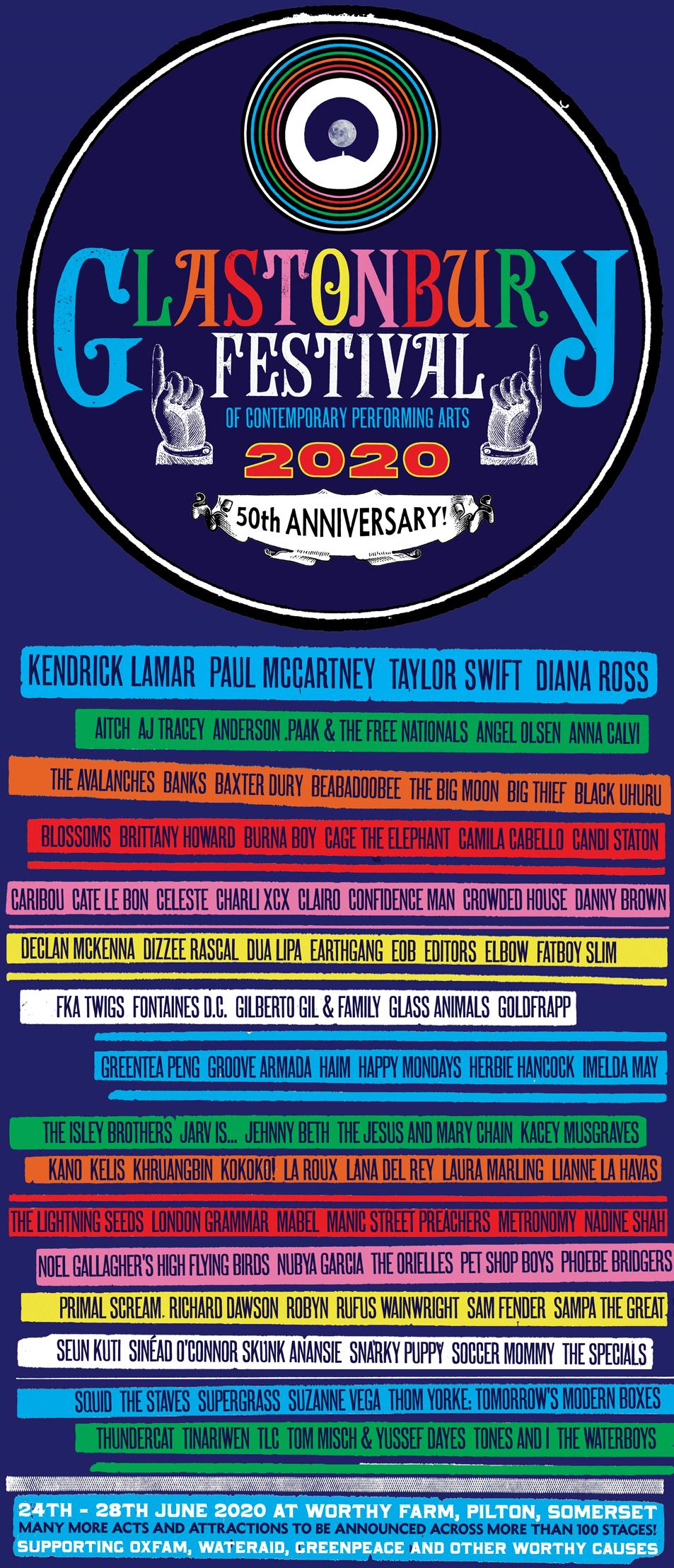 Line-Up für Glastonbury 2020